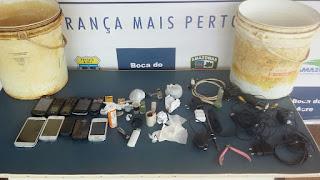 Em Boca do Acre, Policiais Militares apreendem dentro do presídio vários telefones celulares, entorpecentes, além diversos objetos perfuro-cortantes