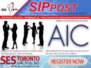 Society of Internet Professionals Newsletter, SIPpost, Toronto May 2011