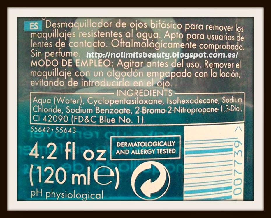 Desmaquillante bifásico de ojos Ziaja - ingredientes