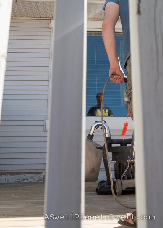 sanding the deck