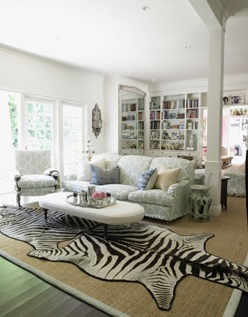 Zebra rug living room