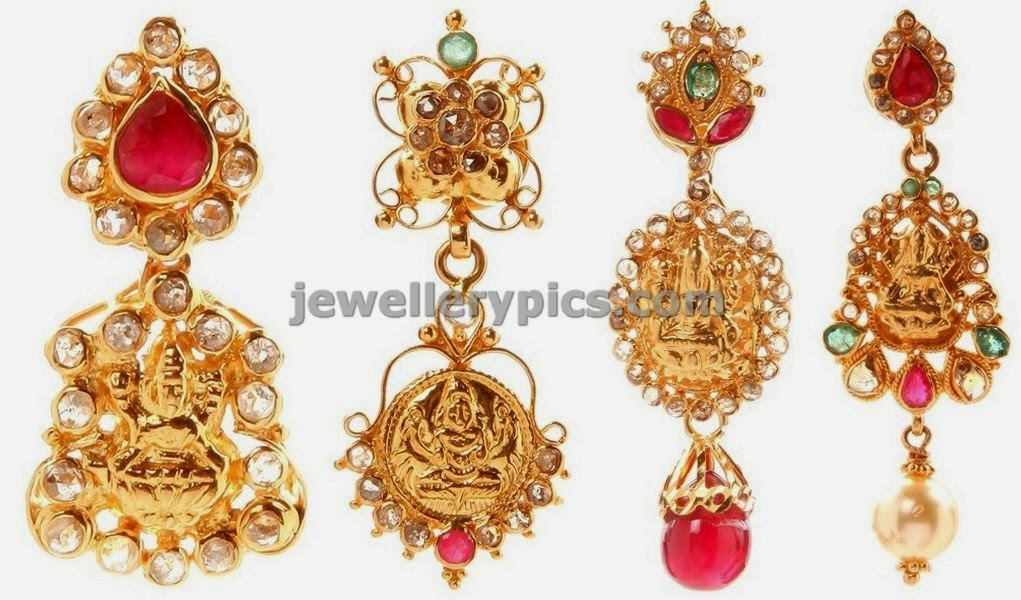 lakshmi earrings in gold and uncuts by NAC jewellers