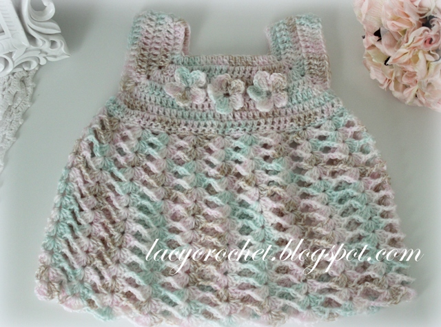 Free Crochet Dress Patterns For Beginners : Lacy Crochet: Crochet Baby Dress, Size 0-1 Months