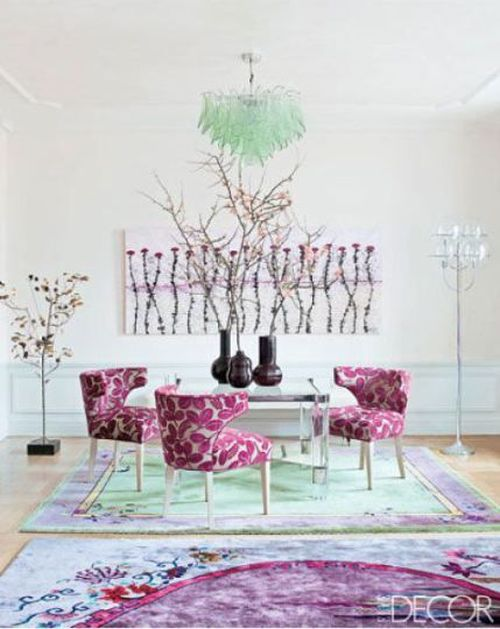elegant Pantone Radiant Orchid chairs and rug