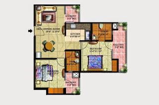 Livingston :: Floor Plans,Block G:-2 BHK (Galaxy)3 Bedroom, 2 Toilet, Kitchen, Dining, Drawing, 3 Balconies Super Area - 1015 Sq Ft