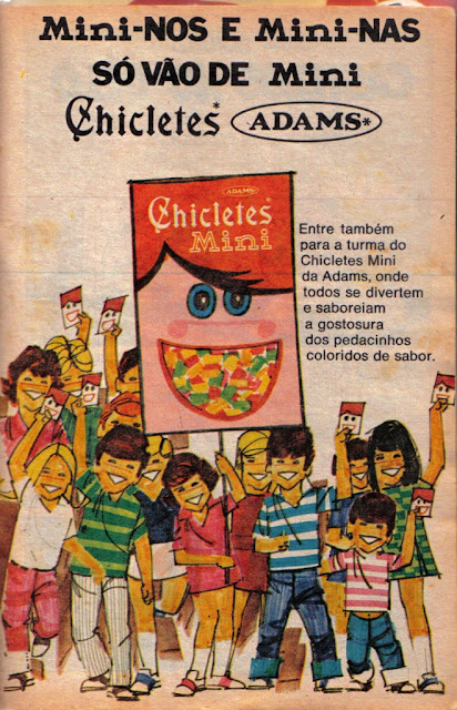 Propaganda do Mini Chicletes da Adams dos anos 70.