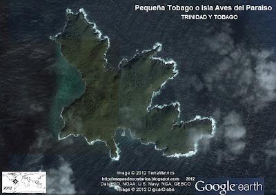 Pequeña Tobago o Isla Aves del Paraíso, TRINIDAD Y TOBAGO (vista aerea de google earth)