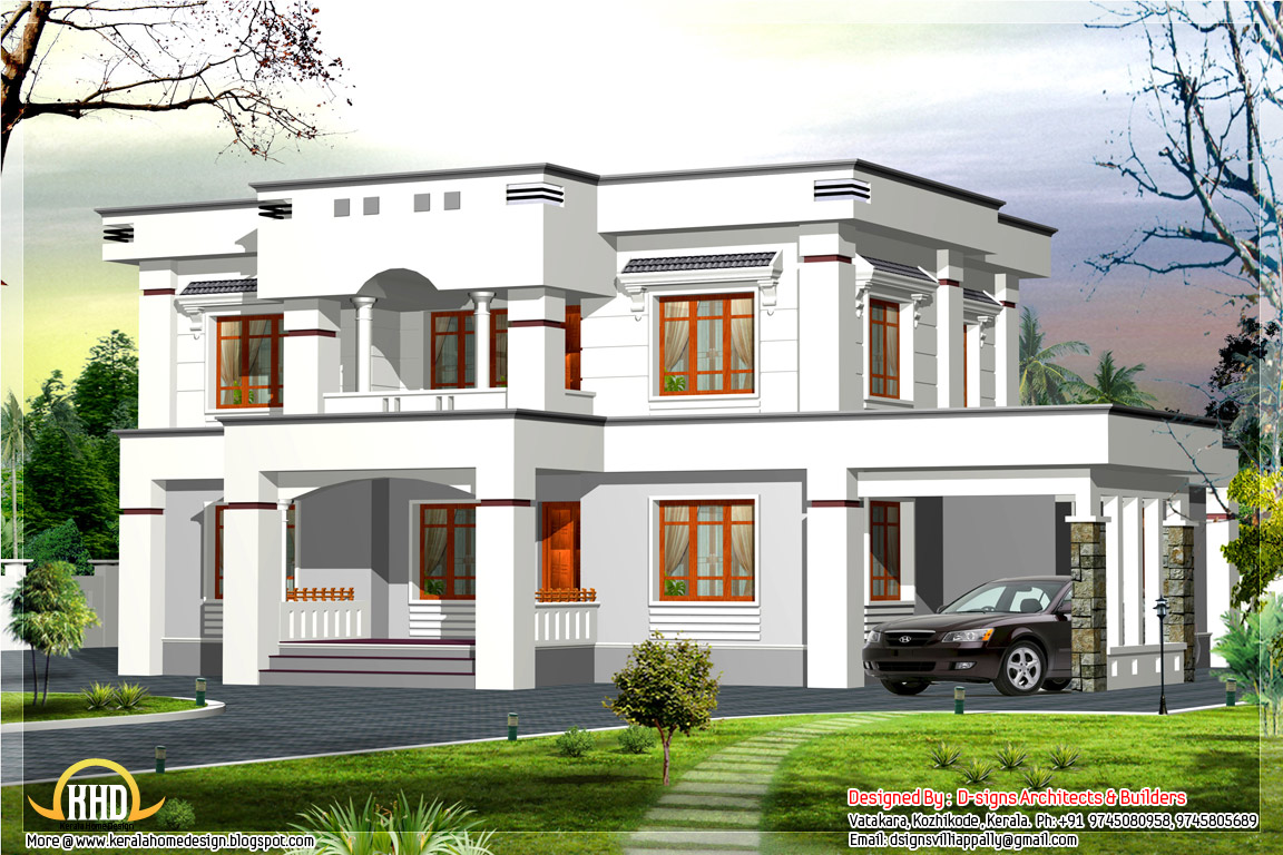 Stylish flat roof home design 2400 kerala home design architecture house plans - Architecture plans of bedroom flat ...