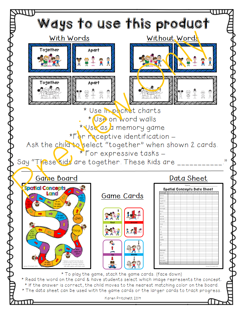 http://www.teacherspayteachers.com/Product/Prepositions-Spatial-Concepts-Positional-Words-game-and-flash-cards-1140189