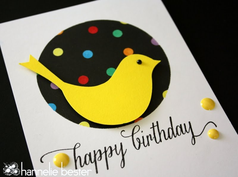 yellow bird and polka dot birthday card