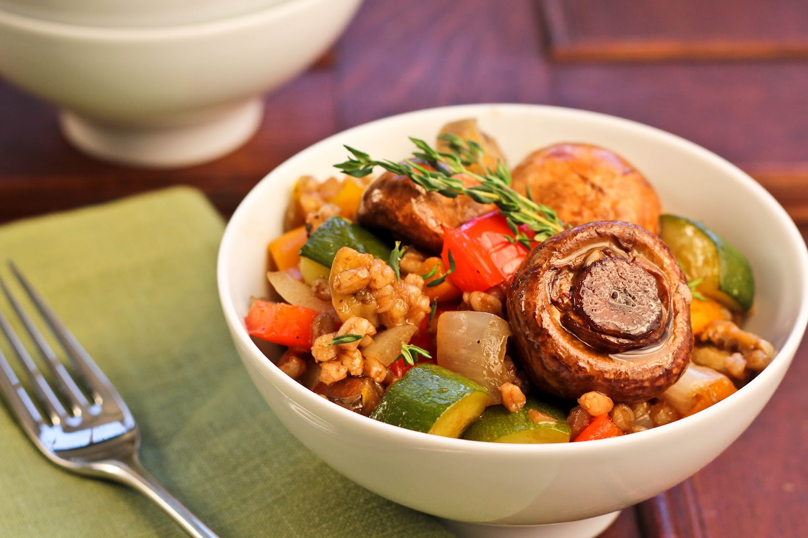 Farro Salad with Roasted Vegetables and Marinated Mushrooms - That ...