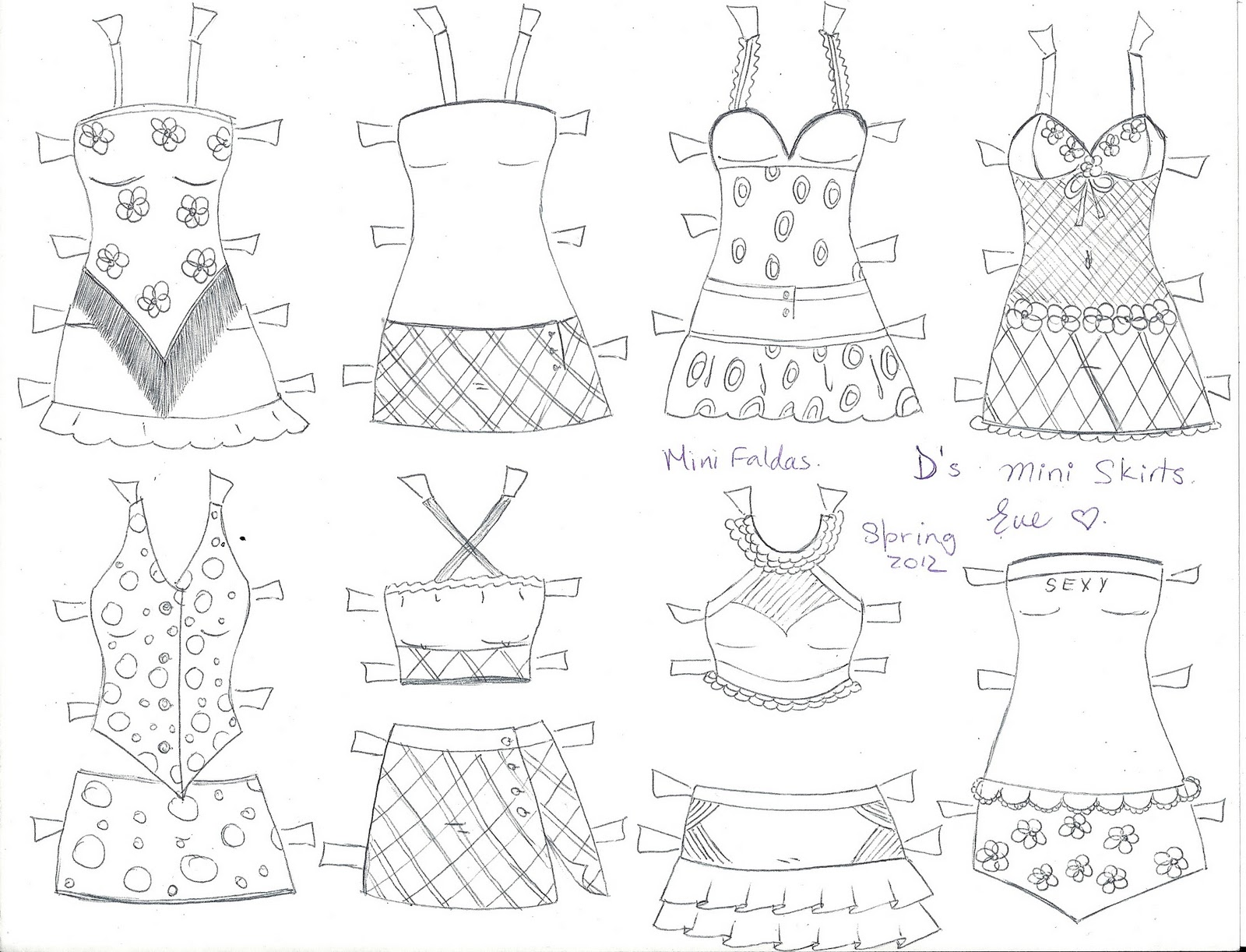 PAPER DOLL EVE~: D the paper doll mini skirts and sleep wear ...