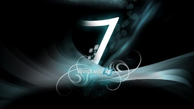 Zwarte Windows 7 achtergrond met witte letter 7
