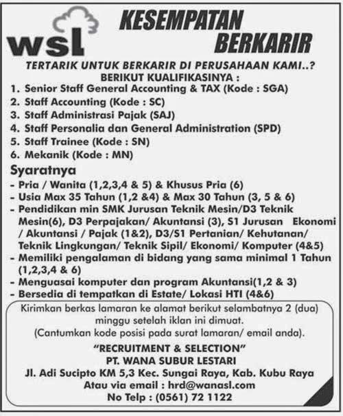 Iklan Lowongan Pekerjaan Terbit di Pontianak Post tanggal 29 Maret 2015