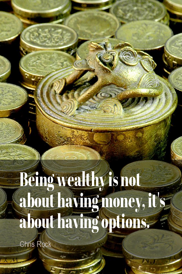 visual quote - image quotation for WEALTH - Being wealthy is not about having money, it's about having options. - Chris Rock