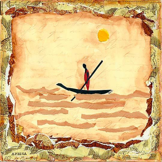 Ilustración en collage titulada Un viaje profundo de Beatriz Blanca