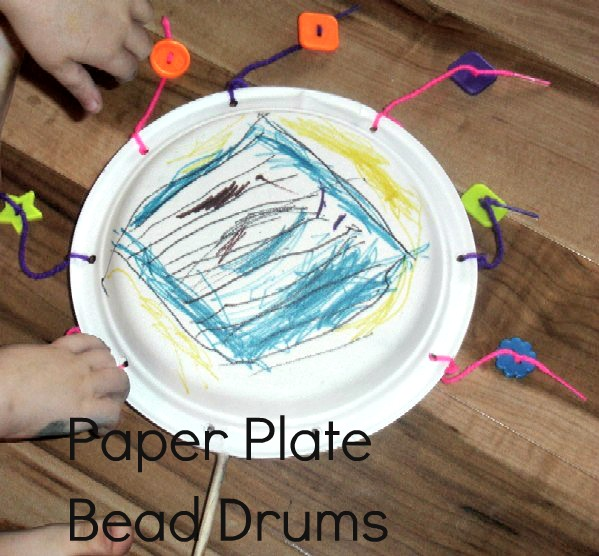 paper plate bead drums musical instruments music