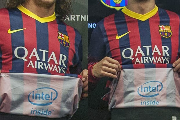 Intel Puts Logo Inside of Barcelona Shirt to Be Seen After Goals