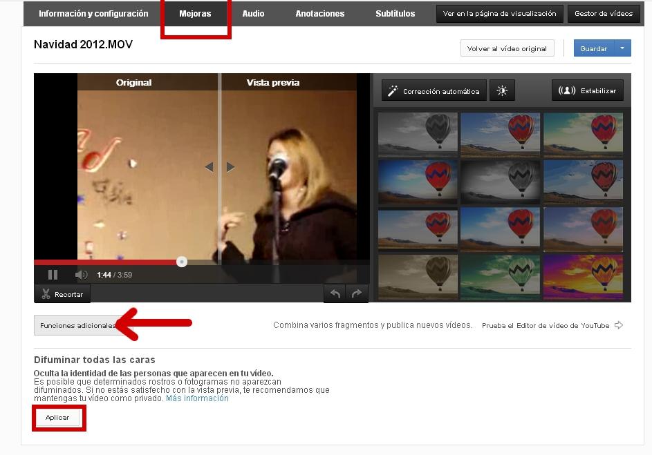 Difumina las caras en tus vídeos de Youtube.