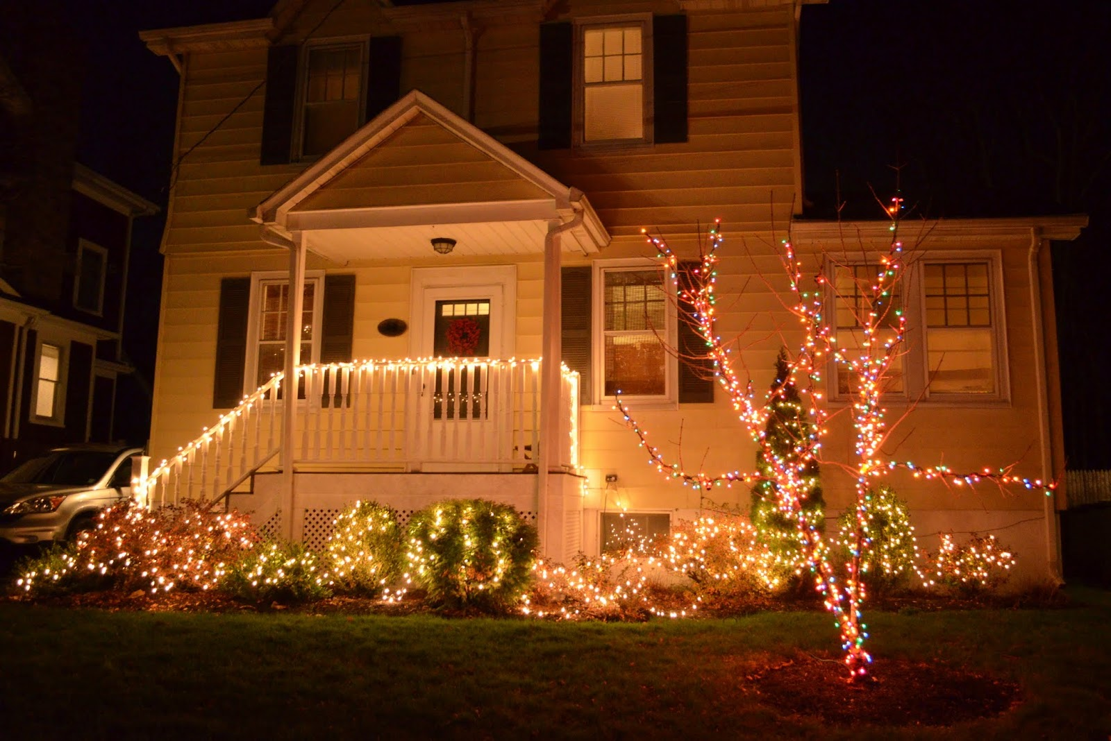 In The Little Yellow House Outdoor Christmas Lights - Outdoor Christmas Tree Made Of Lights
