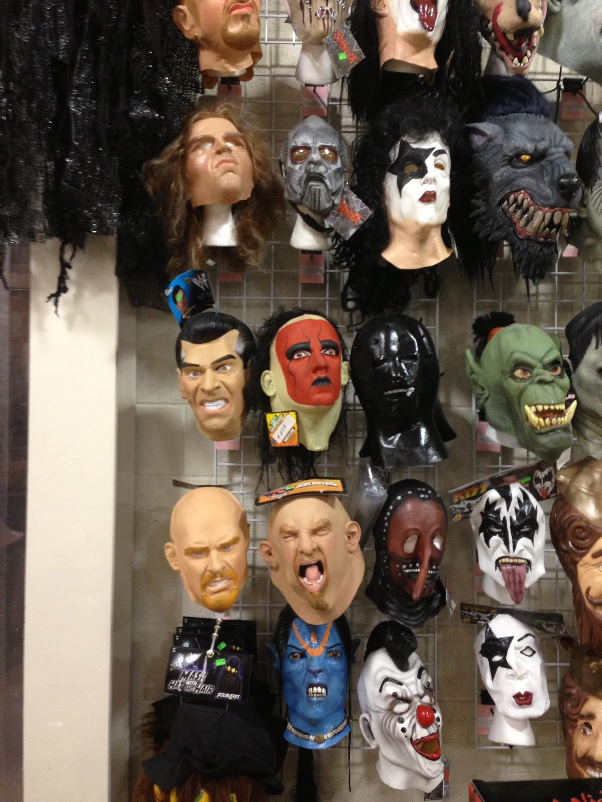 my favorite section of the store is their mask display because they have so many masks from so many years that they obviously cant get rid of