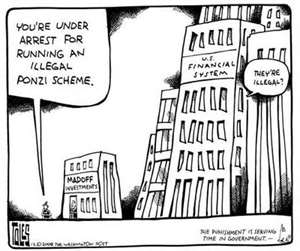cartoon of US Financial Institutions wondering Ponzi? Illegal?