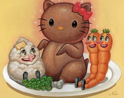 Hello Kitty as a weird Hello Kitty roast chicken dinner with vegetables alternative art