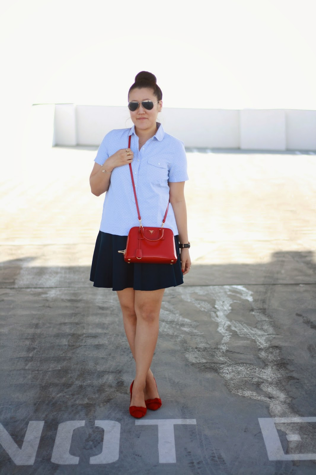 simplyxclassic, prada bag, crew top, ralph lauren skirt, halogen red pumps, forever 21, blogger, orange county mommy blogger, fashion blogger,