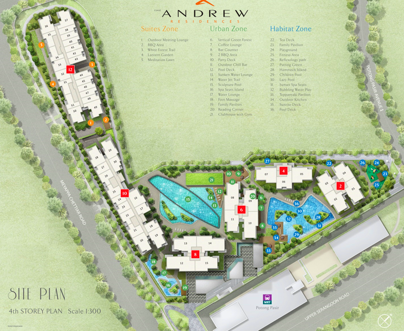The Andrew residences has 731 units