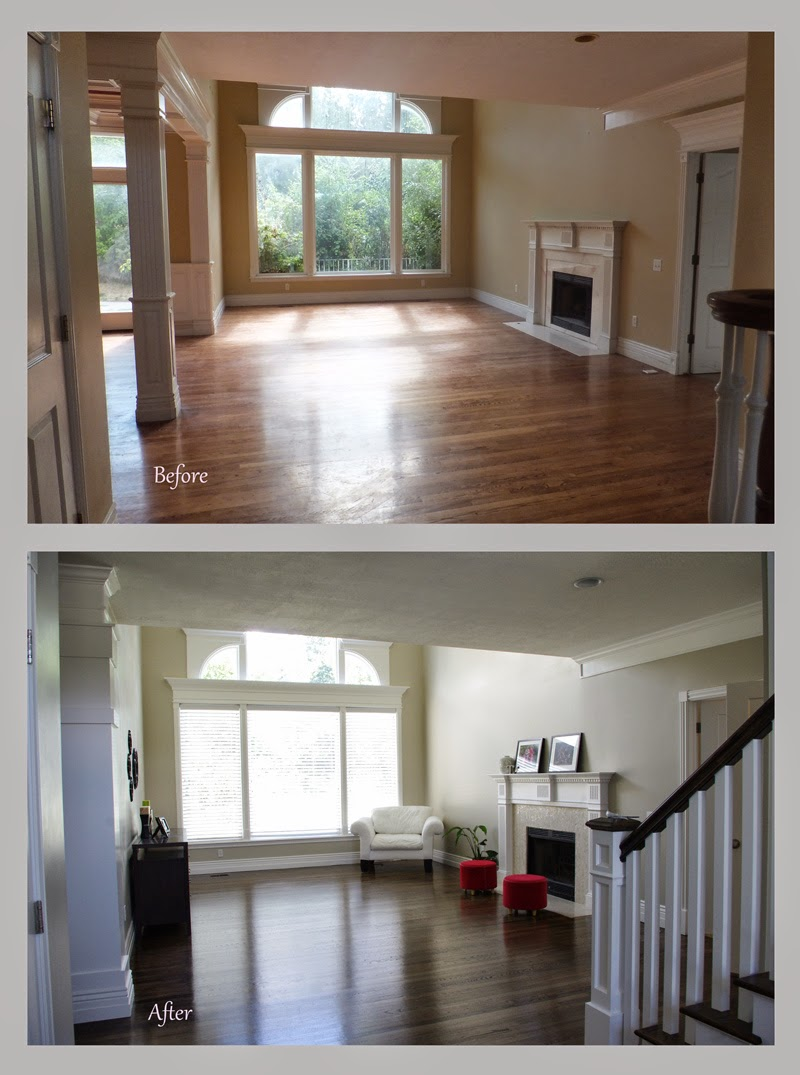 Little pink houses before and after living room renovation for Living room renovation before and after