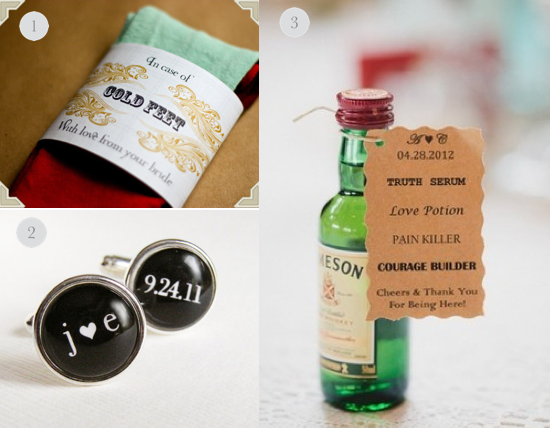 Ideas For Wedding Gift From Groom To Bride : Socks ,2.) Weddingday cufflinks 3.) Liquid courage