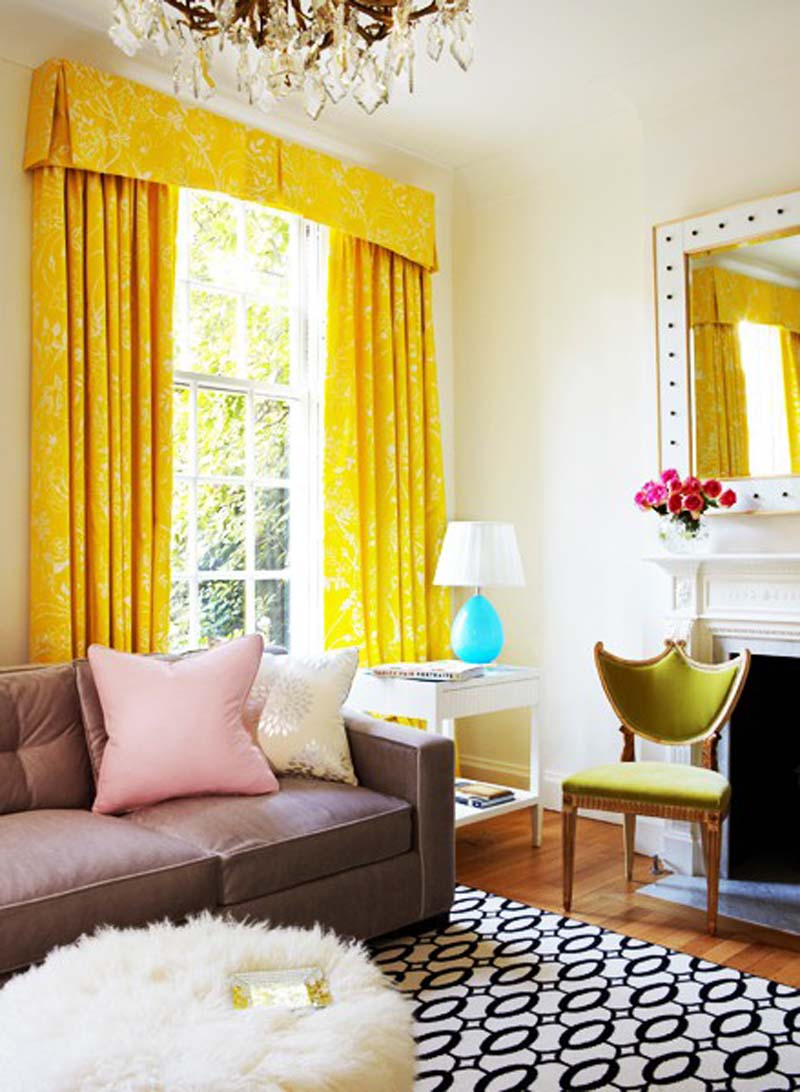 Bright Living Room With Yellow