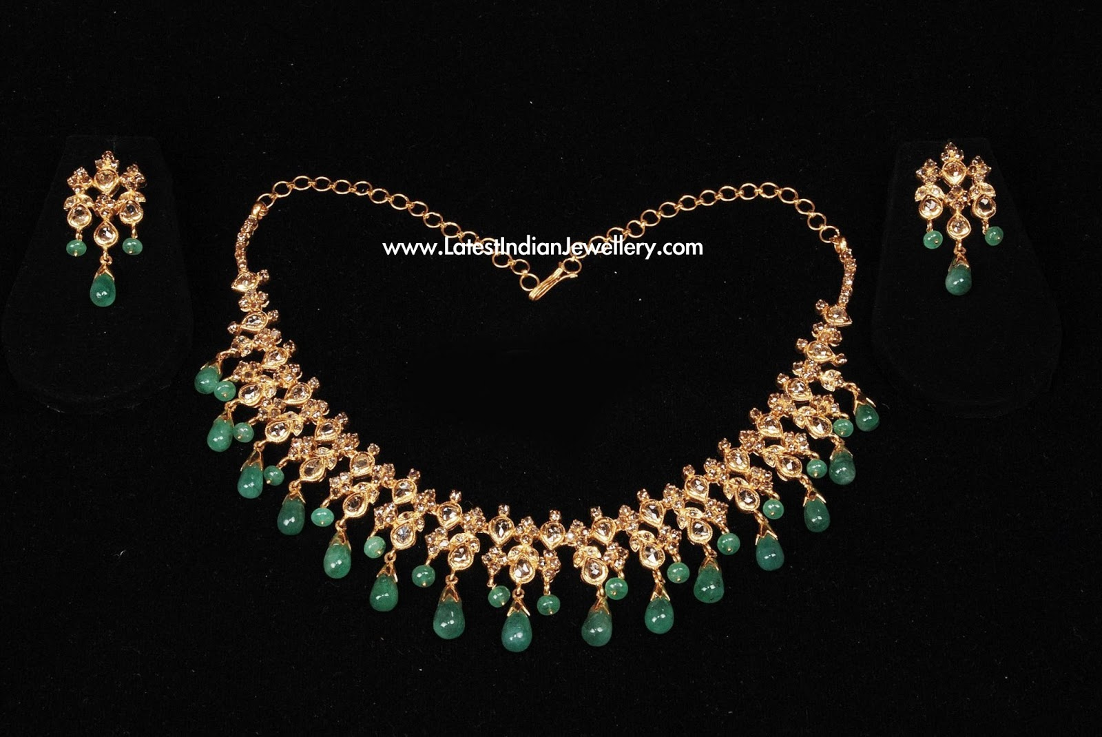 Uncut Diamond Necklace Emerald Drops