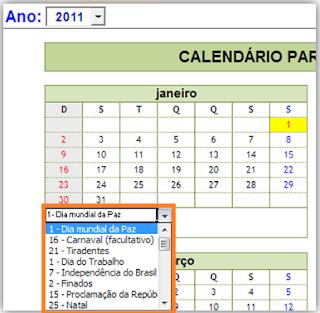 Calendário, Excel, Feriados, 2013