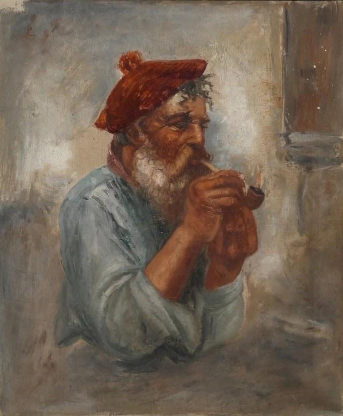 Gaetano Esposito Painter with a Pipe
