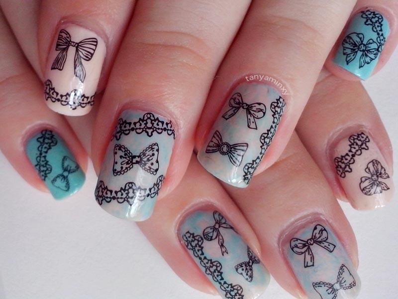 pastel saran wrap lace and bows decals bps born pretty store nails nail art nail desgin