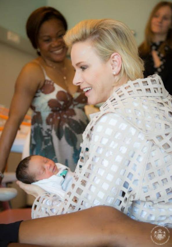 Princess Charlene Visits Maternity Ward Of Princess Grace Hospital