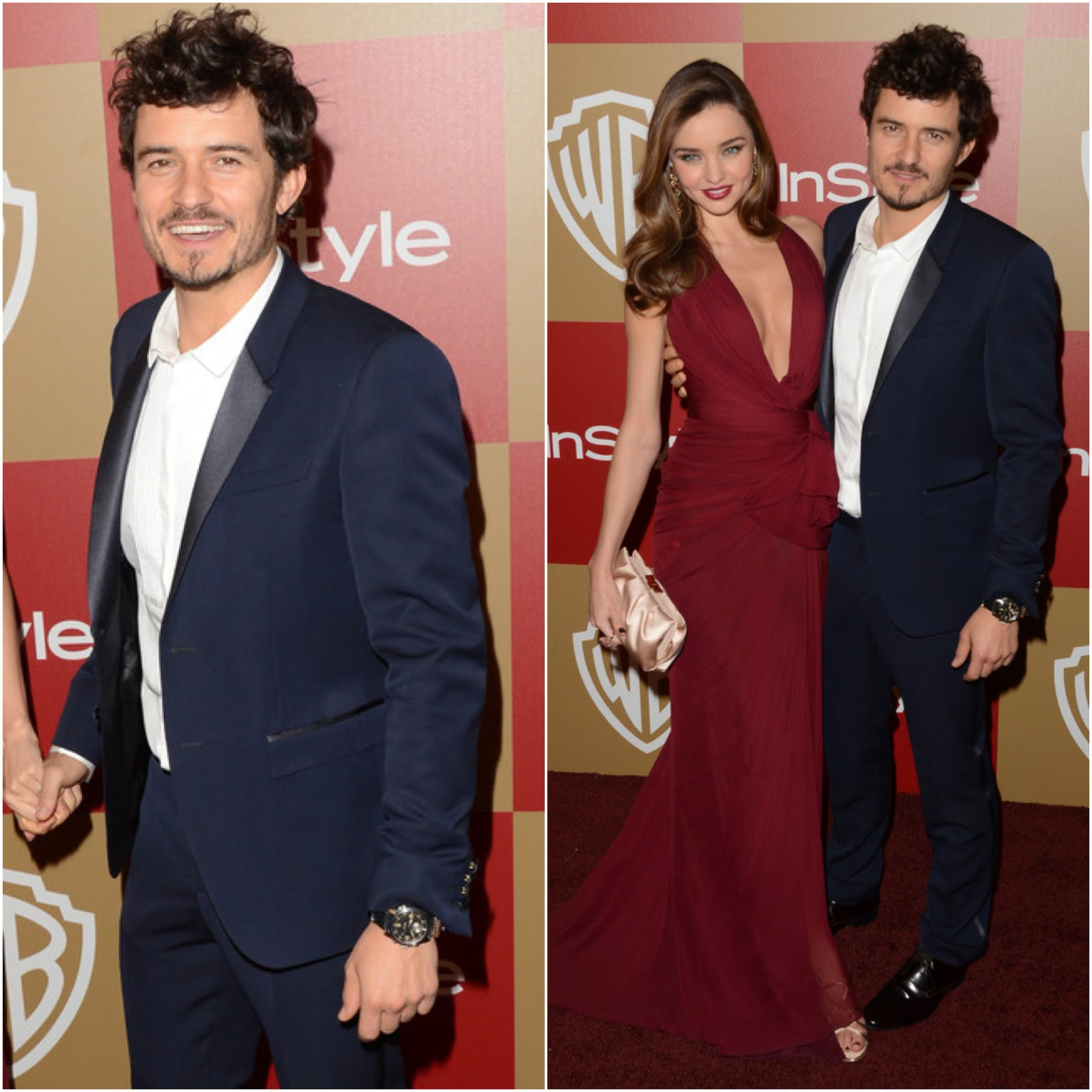00O00 Menswear Blog Miranda Kerr and Orlando Bloom in Burberry - 70th Annual Golden Globes Awards