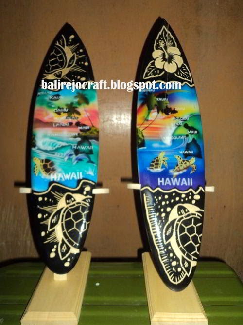 Surf Airbrush Carved Dot Painting Sign Board Wood Bali
