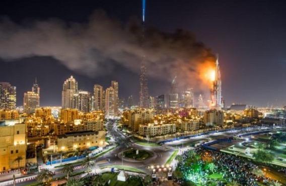 Detik cemas kebakaran di Hotel mewah Hotel Address Downtown di Dubai