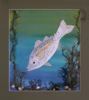 Fish painted on silk fabric
