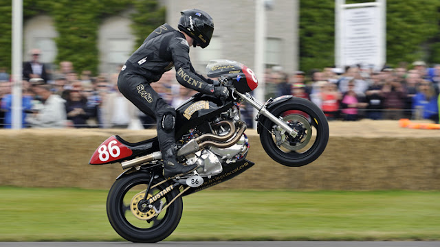 Irving Vincent Motorcycle Wheelie Goodwood