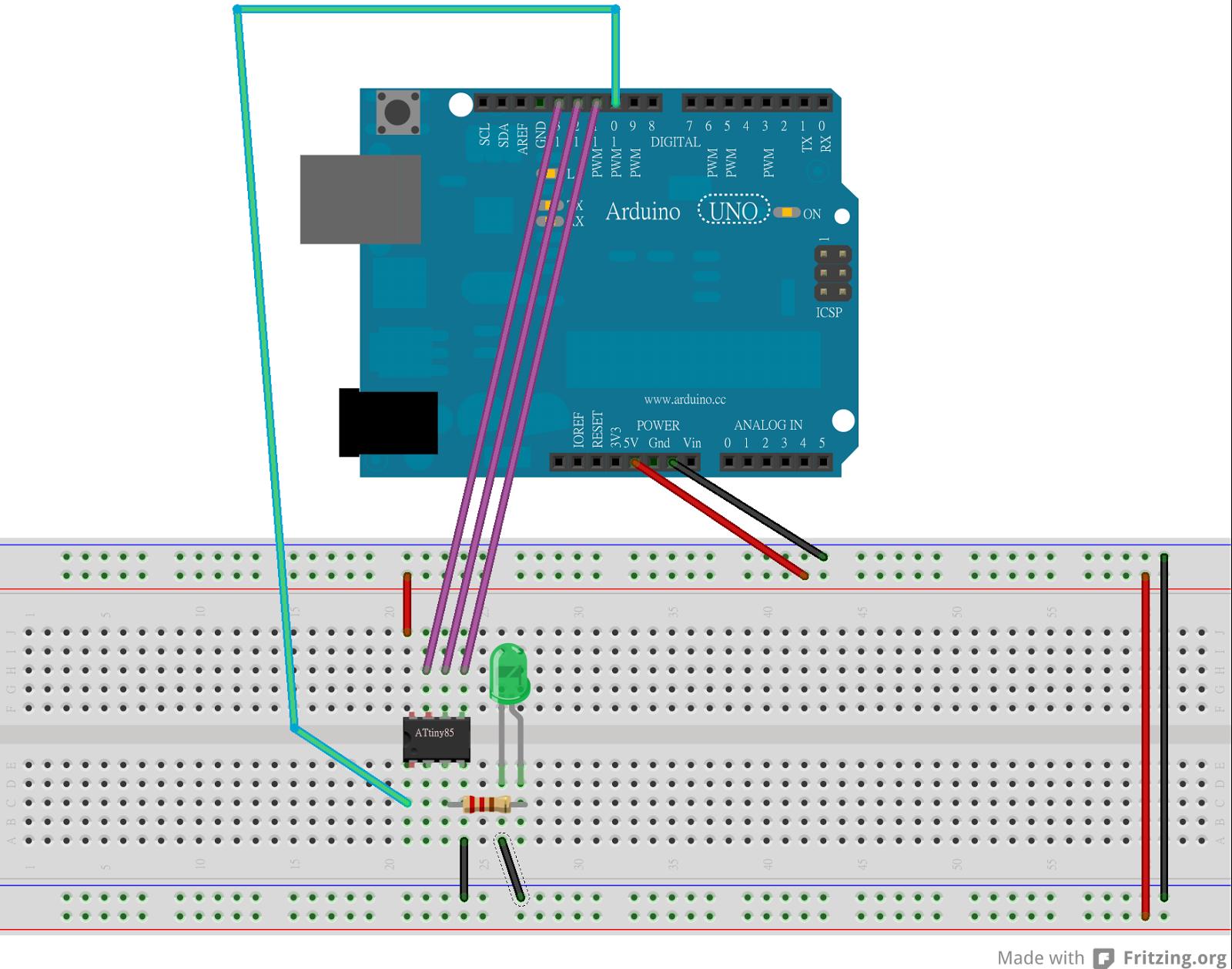 葉難 將arduino uno當做一台isp線上燒錄器,燒錄sketch到麵包板上的attiny pu晶片