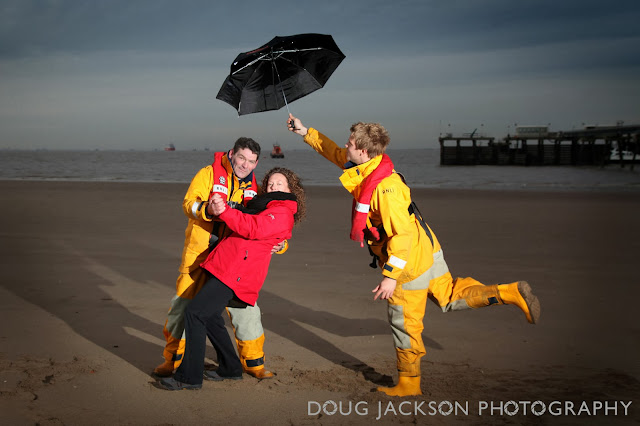 Lifeboat - PR Launch pictures - Jack Vettriano spoof  - The Singing Butler