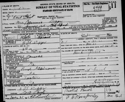 Minnie Ganus Diggs, FamilySearch, genealogy, family history, Georgia, Fulton County