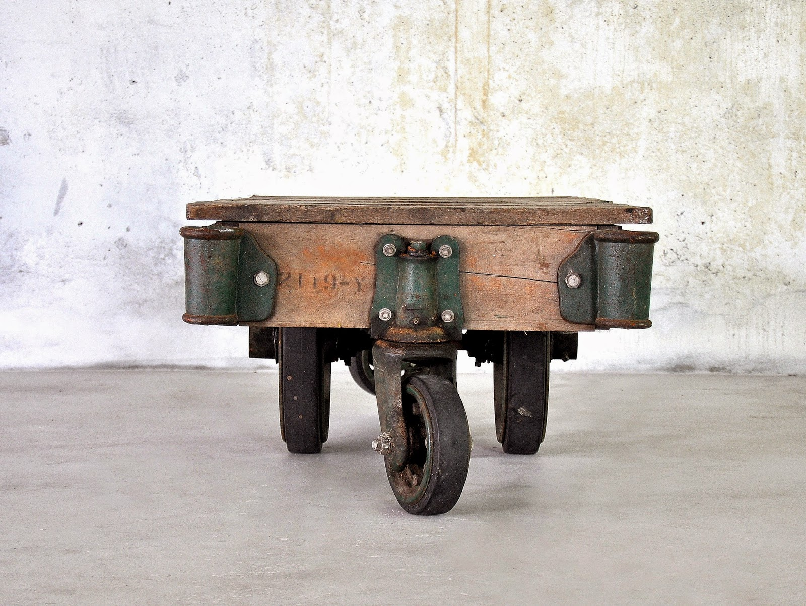 Select Modern Industrial Chic Reclaimed Wood Railroad Cart Coffee Or Cocktail Table