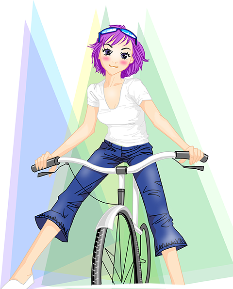 Imagen de jovencita manga montando en bici