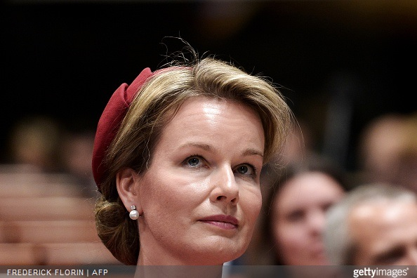 Queen Mathilde of Belgium listens to the King of Belgium in the Parliamentary Assembly of the Council of Europe, in Strasbourg, eastern France