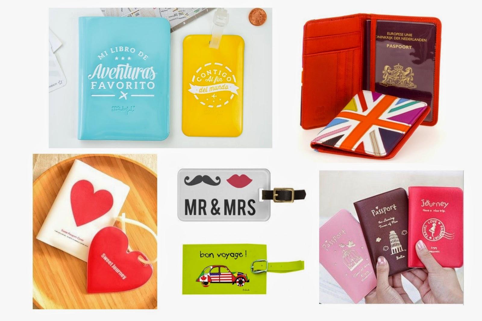 Regalos para viajeros: etiqueta para maleta y funda para pasaporte
