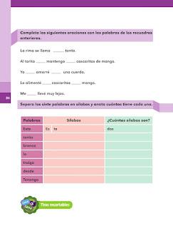 Apoyo Primaria Español 1er grado Bimestre 3 lección 2 Palabras en El torito
